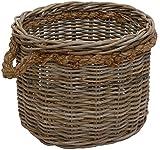 Großer Pflanzkorb/Holzkorb rund aus grauem Natur Rattan Ø50cm mit Seilrand / geflochtener Übertopf aus Rattan / Größe XL auch als Holzkorb einsetzbar - Versandkostenfrei in DE
