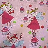 Stoff Baumwolle Prinzessin Kuchefee Muffins Törtchen rosa