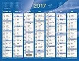 Quo Vadis - 1 Calendrier de banque bleu - Année 2017 - 135 x 180 mm...