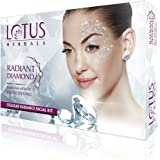 Lotus Herbals Radiant Diamond Facial Kit For Instant Radiance With Diamond Dust & Cinnamon, 4 Easy Steps, 37 g (Single Use)