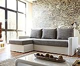 Couch Avondi Weiss Grau 225x145 Bettkasten Ottomane variabel Ecksofa