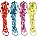 COM-FOUR Hüpfgummiset, Gummitwist, 3m Länge je Band, 4 verschiedene Farben, 4er Set