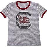Blue 84 NCAA South Carolina Fighting Gamecocks Women's Tri-Blend Retro Stripe Ringer Shirt, Large, Cardinal