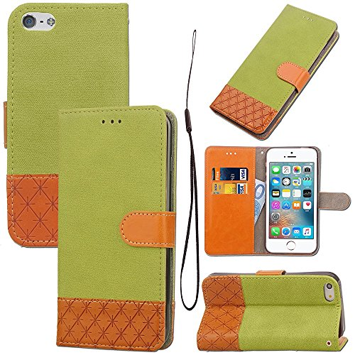 EKINHUI Case Cover Mischfarben Premium PU Ledertasche 360 ​​° Pretion Brieftasche Standhülle mit Lanyard & Card Slots für iPhone 5s & SE ( Color : Beige ) Green