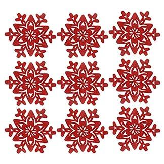 Amosfun 12 Piezas Posavasos de Navidad Copo de Nieve manteles Individuales de Navidad tazón Mesa Estera Posavasos Mantel Individual para Decoraciones de Mesa de Fiesta de Navidad Adornos