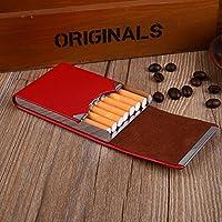 TOPmountain Pu Leather Cigarette Box Classical Cigarette Case Card Case Metal Cigarette Tobacco Box-Red