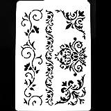 A5 5.8 x 8.3 in. 148 x 210 mm Pochoir en PVC r/éutilisable A5 size plus grandes tailles Pochoir r/éutilisable /à motif floral Format A3 A4