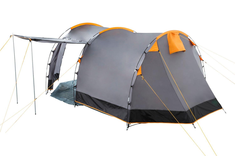 CampFeuer - Tunnel Tent, 410 x 260 x 150 cm, 4 Person, Orange / Grey / Black 5
