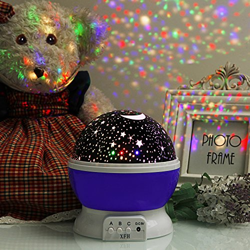 Image of XFH Night Lights for Children Night Light Projector, Rotation Night Projection Lamp for Kids Children Bedroom Bed Christmas Purple