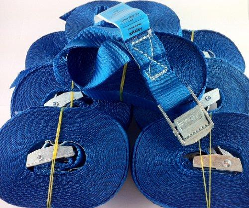 Preisvergleich Produktbild 10x Spanngurt 6 Meter 250kg Zurrgurt Spangurte mit Klemmschloss Schnellspannung Farbe: blau, iapyx®