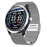 MEISHENG Smart Watch Steel Watch Band IPS Screen ECG Messung Herzfrequenz Sleep Monitor Bluetooth Wireless Calls Reminder für Samsung Android iOS,Silver