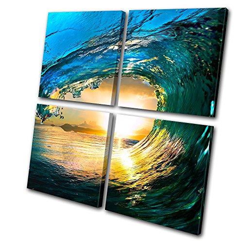 Bold Bloc Design - Sunset Seascape Tahiti Ocean Wave - 180x180cm Leinwand Kunstdruck Box gerahmte Bild Wand hängen - handgefertigt In Großbritannien - gerahmt und bereit zum Aufhängen - Canvas Art Print