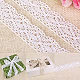 CLE DE TOUS - Rollo Encaje de bolillo de algodón 10 metros 4cm de ancho para regalo coser ropa scrapbooking manualidades (Blanco)