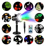 LED Projektor Lichter,FeelGlad 12 Motiven Innen und Außen als Gartenleuchte Projektionslampe für Festen, Weihnachten, Karneval (Schwarz)