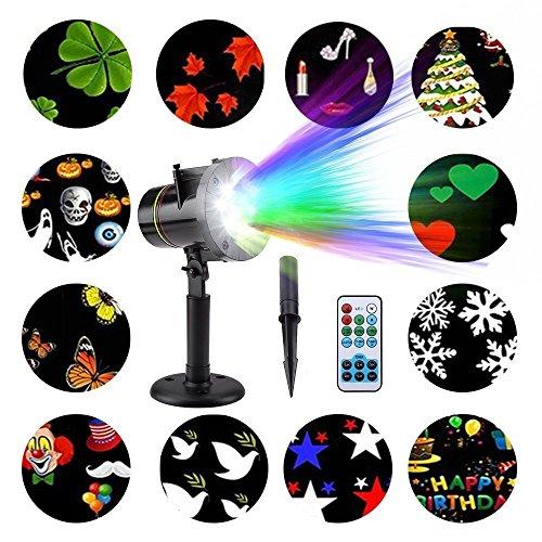 LED Projektor Lichter,FeelGlad 12 Motiven Innen und Außen als Gartenleuchte Projektionslampe für Festen, Weihnachten, Karneval (Schwarz) (Für Bäume Halloween Schwarze)