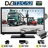 Telefunken L24H274/24V DVD LED Fernseher 24 Zoll 61 cm WideScreen Display, TV mit DVB-S /S2, DVB-T2, DVB-C, DVD, USB, Energieeffizienzklasse A+, 12V / 24V / 230Volt, für LWK Truck uns Buss