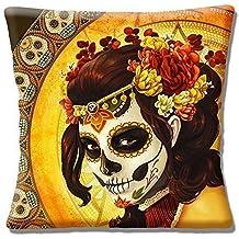 Retro Mexicano Calavera día de los muertos Girl Amarillo - 40.6cm (40cm) Funda De Cojín