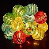 TurnRaise 4.8 Metros 20 LED Guirnaldas de Luces Solar para Fiesta Boda Navidad Forma de Linterna / Farolillo Circular Luz Impermeable Ideal para Árboles, Decoración para Las Fiestas, Jardines, Casas, Bodas (multi color)