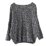 Damen Sweater,Honestyi Fashion Damen Hollow out Fledermaus Langarm Sweater (Free Size, DunkelGrau)
