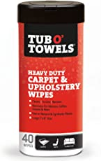 Tub O Towels TW40-CP Carpet And Upholstery Spot Remover Cleaning Wipes (Tub of 40 Wipes)