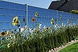 Zaunsichtschutz (über 10 weitere Motive) für Doppelstabmattenzaun *Sonnenblumen* Motivdruck, 9 Stück 19cm Streifen, Rückseite neutral grau *neue Designs* von PerfectHD