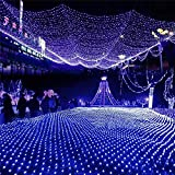 DulceCasa 2m x 3m 200 LEDs Filet de Lumière 8 Modes d'Eclairage Net Light Guirlande Lumineuse 3000K Rideau Lumière Imperméable Noël Fête Marriage Jardin Deco Bleu
