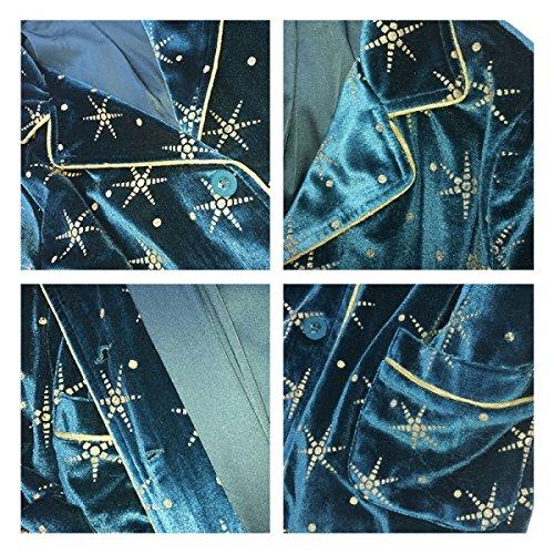 Vestaglia Pigiama Da Donna Accappatoio Vestaglia Pigiama Morbido Pigiama In Velluto Pantaloni A Maniche Lunghe A Cardigan Lungo A Due Pezzi Pigiama Estivo Blue