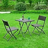 Promotion -50%! SoBuy® OGT02 Salon de jardin table + 2 chaises pliables, Ensemble meubles de jardin de rotin tressé