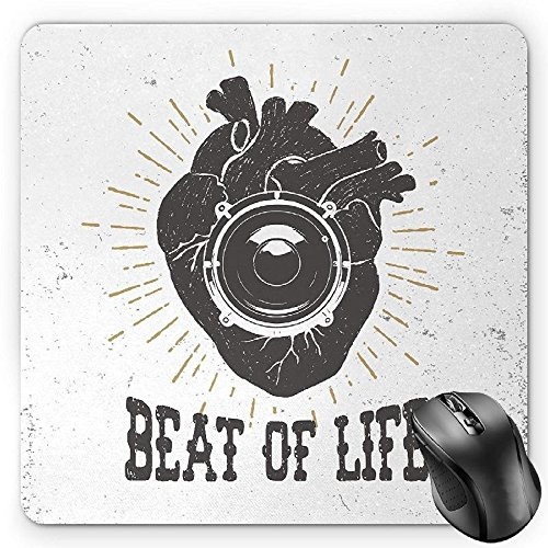 Preisvergleich Produktbild HYYCLS Vintage Mauspads,  Beat of Life Quote Artworks Poster Human Heart with Stereo Speaker Grunge Stamp,  Standard Size Rectangle Non-Slip Rubber Mousepad,  Black White