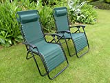 Set of 2 Garden Chairs - Green Sun Lounger Recliner Chair - Weatherproof Textoline