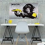 murando - VLIES POSTER 90x50 cm Wandbild - Kunstdruck - Bild - Fototapete - Dekoration - Design Banksy Affe Banane grau i-C-0025-c-a
