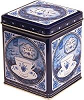 Chine classique Bleu–Mélange De Style Vintage Rétro Couvercle à charnière carré Boîte à thé 200g/Cuisine Boîte de rangement–Bleu et Blanc–11cm