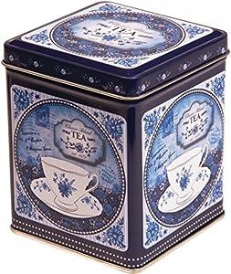 Boîte à thé/ boîte de rangement de cuisine carrée style rétro-vintage classique avec couvercle à charnière 100g Bleu de Chine/blanc- 9,5cm
