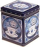 China Blue –Mezcla clásica–Caja para té de Almacenamiento para Cocina Retro Estilo Vintage Tapa Cuadrada con bisagras 100g Azul y Blanca–9,5cm