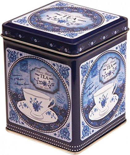 BLUE CHINA, Teedose/Küchen-Aufbewahrungsdose mit Scharnierdeckel, blau-weißes Retro-Design, 100 g, 9,5 cm -