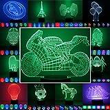 3D Lampe 3D Leuchte 3D LED Stimmungslicht. 7 Farben - 81 verschiedene Motive, hier Motorrad ca.15x20cm inkl.Sockel - 3D Illusion Dekolicht mit USB Anschluß und 220V USB Netzteil