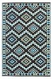 Green Decore Kunststoff-Teppich für den Außenbereich, Farben: Königliches Kaffeebraun/Hellblau/Hellgelb–120x 180cm