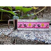 Schlüsselanhänger Schlüsselband Wollfilz hellgrau Katzen pink braun!