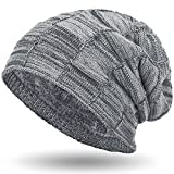 Compagno warm gefütterte Beanie Wintermütze Flechtmuster unifarben oder meliert mit weichem Fleece-Futter Mütze, Farbe:Hellgrau meliert