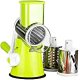 Rotary Cheese Grater Vegetable Slicer Kitchen Grater with 3 Interchangeable Stainless Steel Roller Blades for Cheese Vegetabl