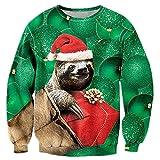 Uideazone jugendlich Winter-langes Hülsen-Hemd Lustige Druck-Trägheit Weihnachtsstrickjacke-Grün,Asia S= EU XS