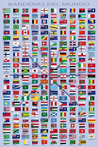 1art1 87535 Flaggen Der Welt - Ländernamen Und Hauptstädte, In Spanisch Selbstklebende Fototapete Poster-Tapete 180 x 120 cm -