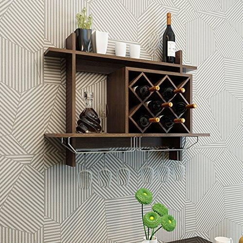 Mensole da parete mensola per il vino in legno massello con portabottiglie in metallo massiccio per bancone bar (colore : nero, dimensioni : 80x20x58.5cm)