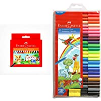 Faber-Castell Jumbo Wax Crayons - 24 Shades & Faber-Castell Connector Pen Set - Pack of 25 (Assorted)