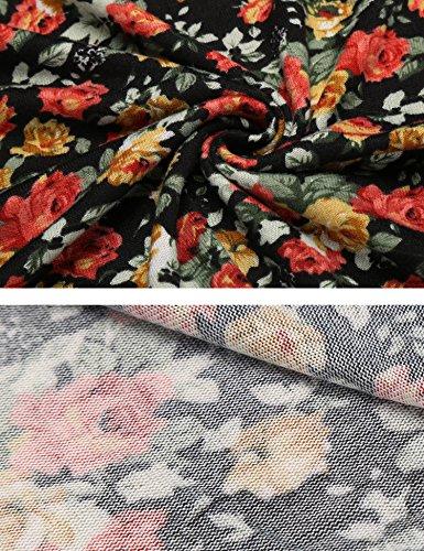Zeagoo Damen Sommerkleider Jerseykleid Wickelkleid Vintage Blumen Kleid V-Ausschnitt Kurzarm Knielang (B)Schwarz