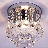 Discount4product Modern Ceiling Light Glass Beads Crystal Pendant Chandelier Fixture 27cm wide