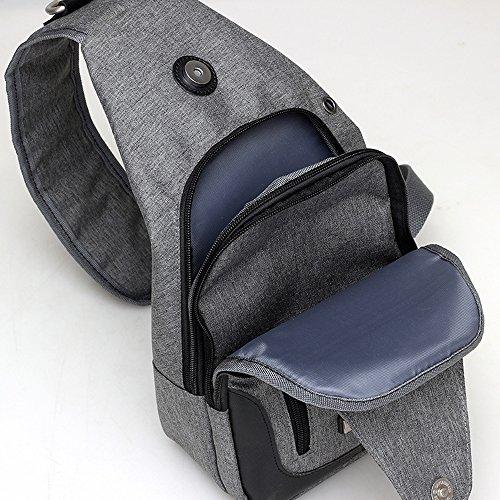DOXUNGO Herren Damen Sling-Rucksack Oxford-Tuch Unisex Schultertasche für Freizeit Reisen Wandern Fahrradfahren Grau-schawrz
