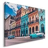 Feeby. Cuadro en lienzo - 1 Parte - 50x70 cm, Imagen impresión Pintura decoración Cuadros de una pieza, CUBA, ARQUITECTURA, AZUL