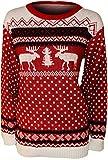 Papermoon - Damen Rentier Druck Weihnachten Pullover Top - Rot - 40-42