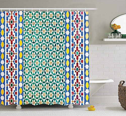 BUZRL Moroccan Decor Shower Curtain Set, Colorful Moroccan Mosaic Wall Mideast Style Craftsmanship Vertical Details, Bathroom Accessories, 66x72 inches Extralong, Green Orange